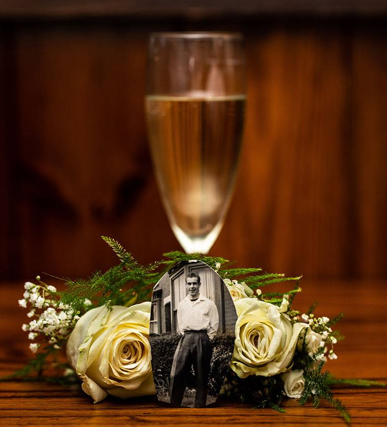Champagne Glass With Small Picture Of Missing Loved One